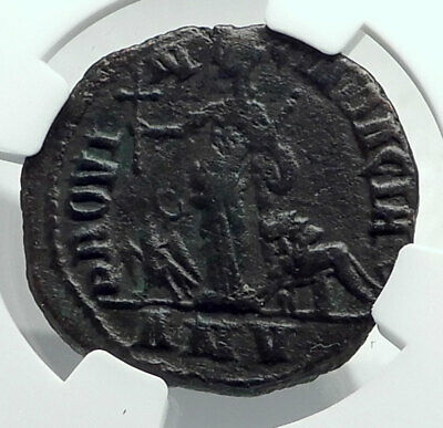 VOLUSIAN 252AD VERY Rare CHRISTIAN CROSS Roman DACIA Coin Eagle Lion NGC i78515