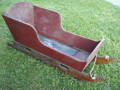 Rare WI Antique Primitive Child's Sled Snow Sleigh Wood Steel Runners Box Cradle