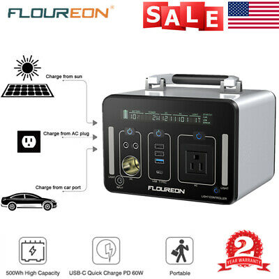 Portable 500Wh Solar Solar Power Generator Supply LED AC DC USB Charger Station