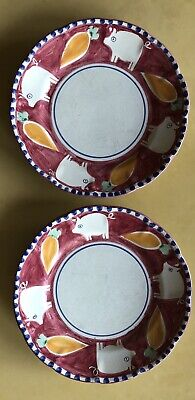 "Solimene - Vietri- Hand painted Italy - 2 Plates 10"" Diameter - Pig - Excellent"