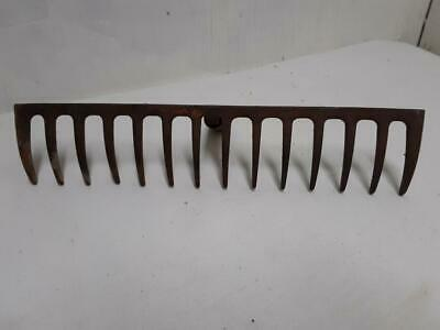 Vintage Garden Rake Head 14 Tine Metal Iron Wine Rack Jewelry Hanger Tool