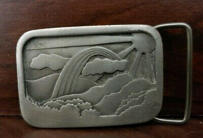 Sun and Rainbow Pewter Belt Buckle---1977---Indiana Metal Craft