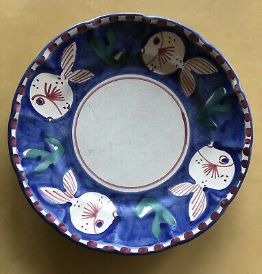 "Solimene - Vietri- Hand painted Italy - 1 Plate 10"" Diameter - Fish- Excellent"