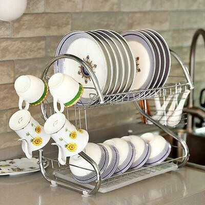 2 Tier Dish Drainer Large Capacity Drying Rack Kitchen Storage Stainless Steel