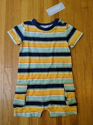 $26.95 NWT Gymboree Striped Romper 12 18 month Baby Boy NEW outfit summer yellow