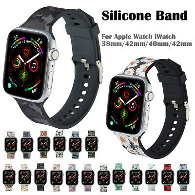 Silicone Band Flower Floral Print Strap for Apple Watch iWatct Series 4 3 2 1