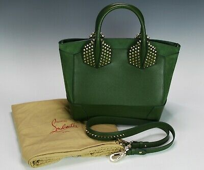 bcc92659a83 AUTHENTIC CHRISTIAN LOUBOUTIN Eloise Large Green Suede Leather Handbag w/  Studs