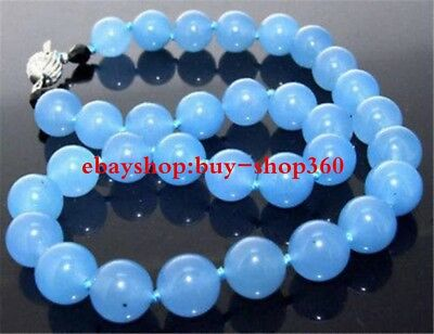 Natural 6mm Blue Chalcedony Topaz Gemstone Round Beads Necklace 18""