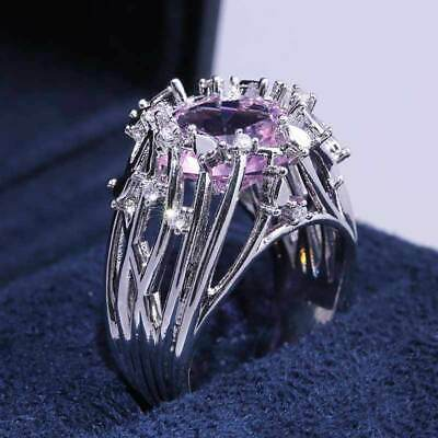 925 Silver Wedding Jewelry Ring For Women Pink Cubic Zirconia Ring Size 6-10