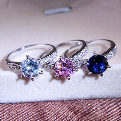 Round Cut Cubic Zirconia Rings Women 925 Silver Fillled Wedding Rings Size 6-10