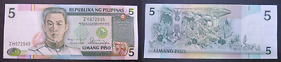 1985-94 Nd Philippines 5 Piso Banknote * Xf+ * (He185)