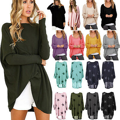 Women Plus Size Sweater Mini Dress Pullover Jumper Top Long Sleeve Casual Blouse