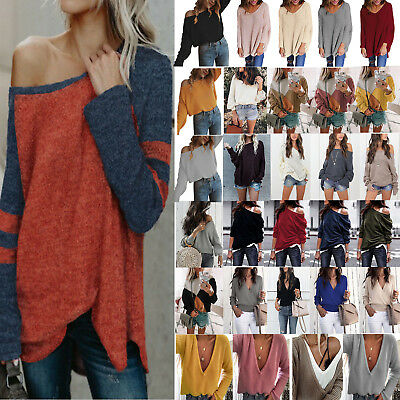 Women Off Shoulder Sweater Knitted Baggy Pullover Jumper Top Casual Sweatshirt
