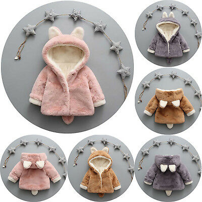 Kids Toddler Infant Rabbit Ear Hooded Coat Jacket Warm Outwear Hoodie Clothes