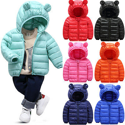 Winter Boys Girls Kids Outerwear Snowsuit Hooded Warm Quilted Puffer Coat Jacket