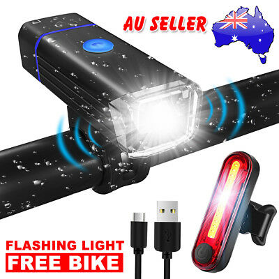Bike Bicycle Lights USB LED Mountain Cycle Front Back Headlight Rechargeable AU