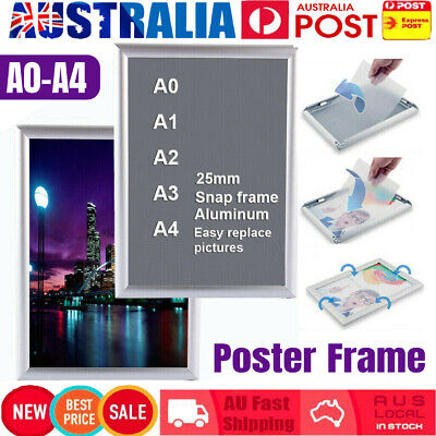 A0 A1 A3 A4 PREMIUM Aluminum Snap Poster Frame Sign Holder Wall Mount Silver