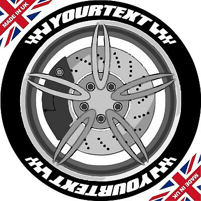Custom Design Set Of 8 With Flags Tyre Stickers / Permanent /3D/ Tyre Lettering