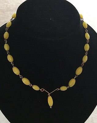 Vintage Art Deco Yellow Satin Glass & Rolled Gold Drop Necklace c1930's