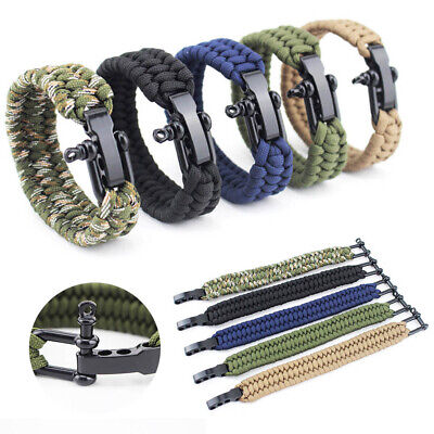 Mens Outdoor Survival Rope Adjustable Camping Hiking Paracord Bracelet Wristband