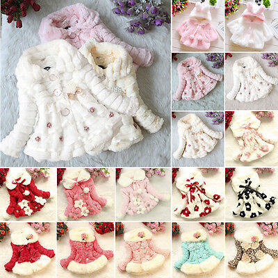 Baby Toddler Girl Fur Fleece Pom Ball Coat Kids Winter Warm Jacket Parka Clothes
