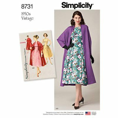 Simplicity Sewing Pattern 8731 Misses 14-22 Dress and Lined Coat Vintage 1950s