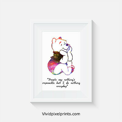 Disney inspired, Winnie the Poo, home decor, quote, art, minimalist poster