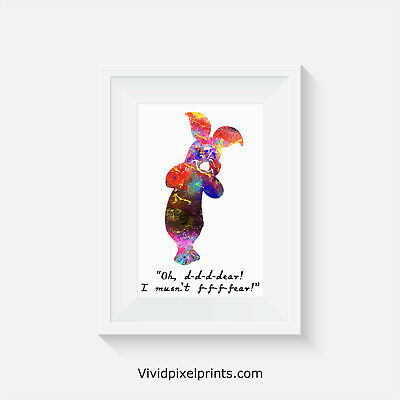 Winnie the Poo inspired, Piglet, home decor, quote, art, minimalist poster