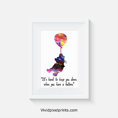 Winnie the Poo inspired, balloon, home decor, quote, art, minimalist poster