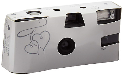 Weddingstar Disposable Camera with Flash White and Silver Enchanted Hearts Pack