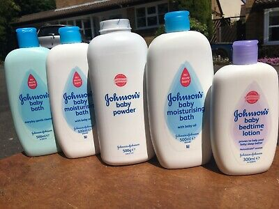 5x Johnsons Bottles Baby Moisturing Bath / Baby Powder / Baby Bedtime Lotion