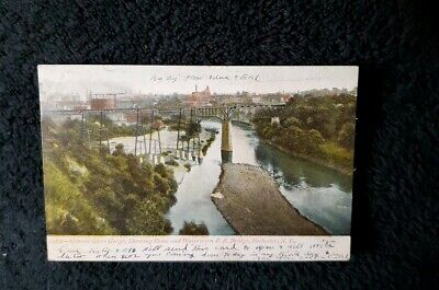 Rochester NY Genesee River Gorge Showing Rome & Watertown RR Bridge Postcard