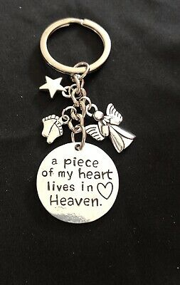 Memorial Keyrings, A PIECE OF MY HEART LIVES IN HEAVEN Miscarriage/baby Loss