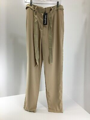 9478c1fd4a32 Boohoo Womens Luna Longer Length Tie Waist Wide Leg Satin Trouser Tan US:10  NWT