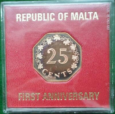Malta. 1975 Proof 25 Cents. Cased.