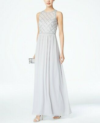 New $399 Adrianna Papell Womens Gray Beaded Sleeveless Chiffon Gown Dress Size 6