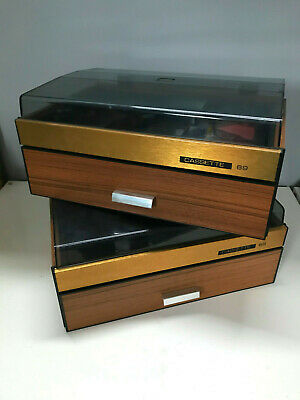 PAIR VINTAGE Cassette Storage Boxes Cases Wood Effect & Perspex - 2x69 Tapes