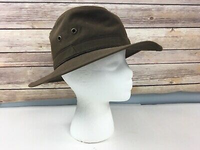 cc835614 Vtg Bailey Waxed Cotton Canvas Hat Brown Bollman Co S Small USA Hunting  Fishing