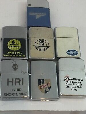 7 Old Pocket Lighters With Advertising- Grumman, Braniff, McCulloch Chain Saws +