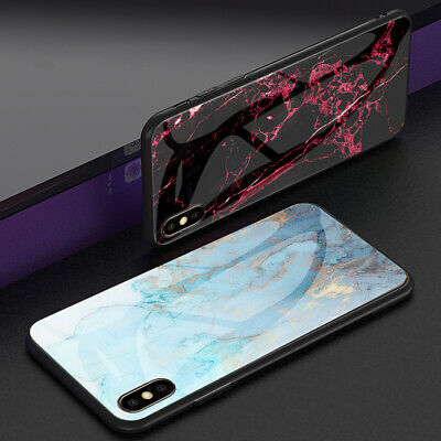 For iPhone XS Max XR 8 7 6S Luxury Slim Shockproof Glass Hybrid Back Case Cover