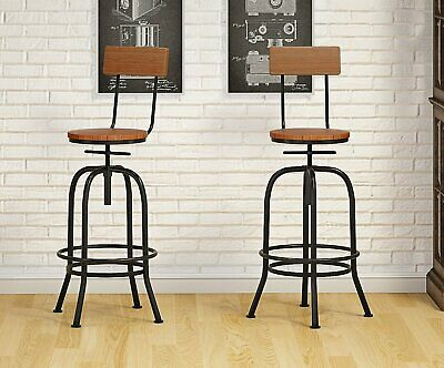 2X Rustic Industrial bar stool wooden top shabby vintage chic kitchen seat Black