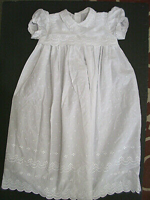 Christening Gown White Cotton Batiste Vintage 60s Pristine Beautiful Condition