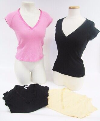 NWOT Rebecca Beeson Pink Black Yellow V-Neck Button Detail T-Shirt Top XS S M