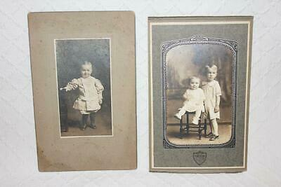 Two Vintage 1930s Photographs of Toddlers Sepia Cabinet Photos