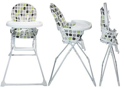 Portable Green Baby High Chair With Feeding Tray Padded Seat Foldable Highchair