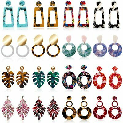 2019 New Fashion Boho Acrylic Acetate Leopard Circle Hoop Earrings Women Jewelry