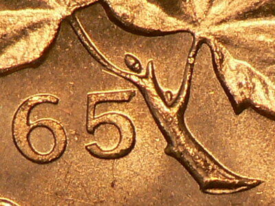 🍁 1965 Canada Small Cent  Pointed 5 Large Beads Type 4 RED Unc #9971