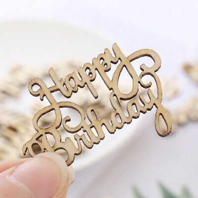 Letter Carving Happy Birthday Wooden Slice Wood DIY Crafts Hanging Ornaments