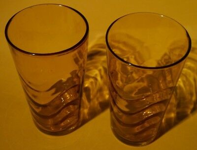 bf4c5561415c LOT OF 6 VINTAGE AMBER GOLD DRINKING GLASSES GLASS TUMBLERS 4 5/8 ...