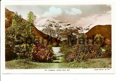 CANADA Mt Robson 1297 Ft British Columbia RP Hand Coloured Vintage Postcard S02